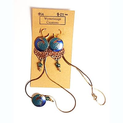 Handcrafted Earrings and Necklace at Wysteriasage Creations