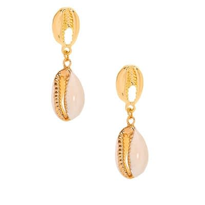 Gold 1.5″ Cowrie Shell Drop Earrings at Claire's