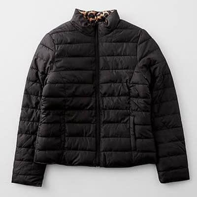 Ci Sono Reversible Animal Print Puffer Jacket at Buckle