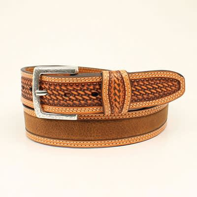 M&F Ariat Medium Brown Distressed Men's Belt at Vickers Western Stores