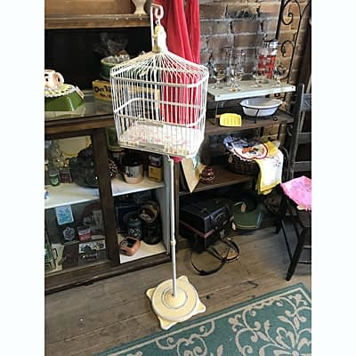 Metal Bird Cage and Floor Stand at Wysteriasage
