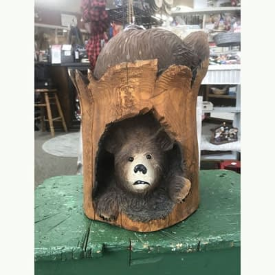 Chainsaw Carved Bear in Stump at Poky Dot Boutique