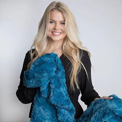 Cerulean Belle Minky Blanket at CozyBelle