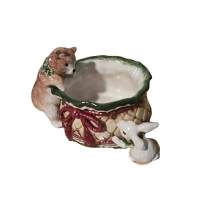 Fitz and Floyd Holiday Bear and Bunny Ceramic bowl Cherub Capers Creations