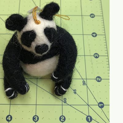 Hand Felted Large Panda Ornament at Pegasus