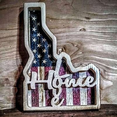 State of Idaho with Home at Ideas on Wood