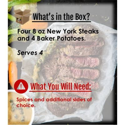 Meals in a Box New York Strip Steaks and Baked Potatoes at Nel's Bi-Lo Market