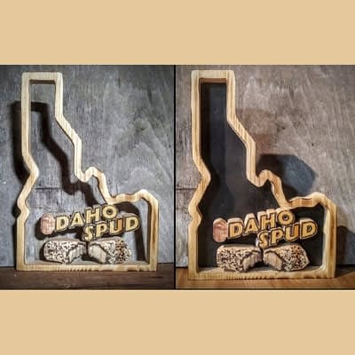 Idaho Spud Custom Photo on Wood Background at Ideas on Wood