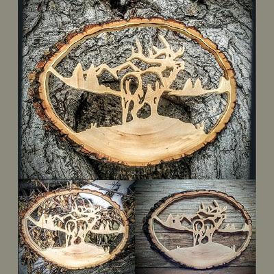 Custom Wood Elk Oval Cutout at Ideas on Wood