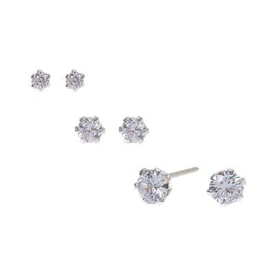 Sterling Silver Cubic Zirconia Round Stud Earrings  at Claire's