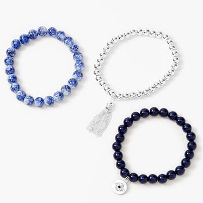 Evil Eye Marble Beaded Stretch Bracelets – Blue, 3 Pack at Claire's