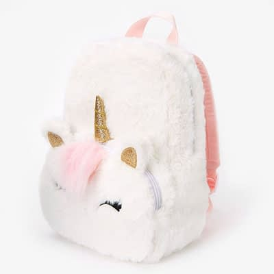 Claire's Club Furry Unicorn Small Backpack – White at Claire's