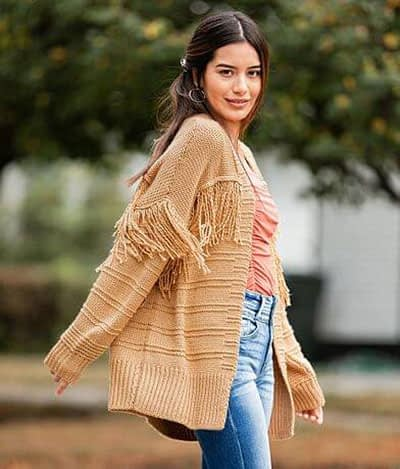 Pieced Fringe Cardigan Sweater at Buckle